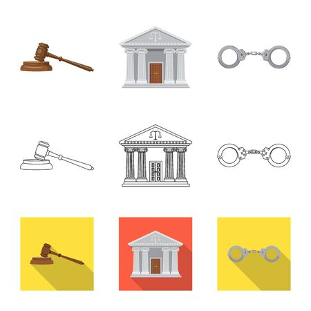 Vector illustration of law and lawyer symbol. Set of law and justice stock vector illustration.