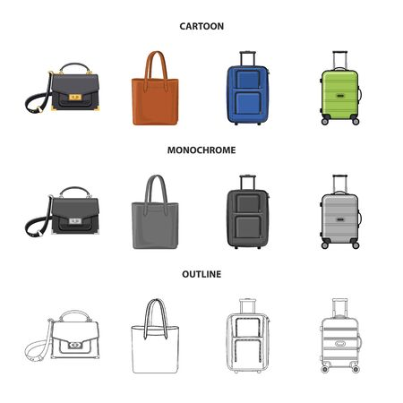 Isolated object of suitcase and baggage logo. Set of suitcase and journey stock vector illustration.