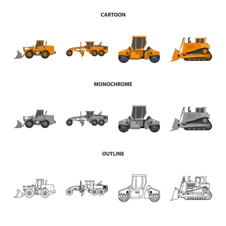 Isolated object of build and construction symbol. Set of build and machinery stock vector illustration. Illustration