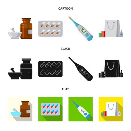 Isolated object of pharmacy and hospital symbol. Collection of pharmacy and business stock vector illustration.