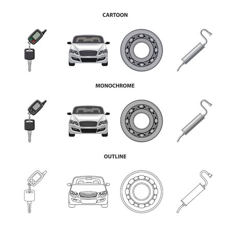 Vector illustration of auto and part symbol. Collection of auto and car stock symbol for web. Illustration