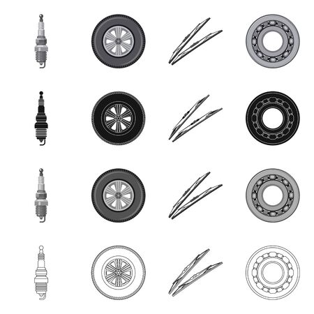 Isolated object of auto and part logo. Set of auto and car vector icon for stock. Illustration