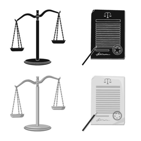 Isolated object of law and lawyer logo. Set of law and justice vector icon for stock. Illustration