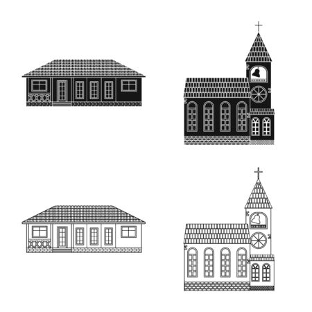 Isolated object of building and front sign. Set of building and roof vector icon for stock.