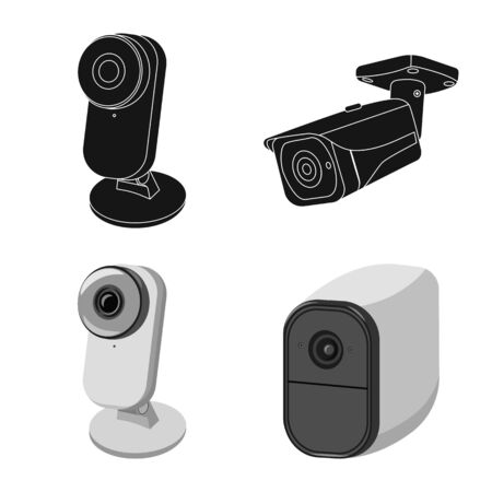 Isolated object of cctv and camera symbol. Collection of cctv and system vector icon for stock.