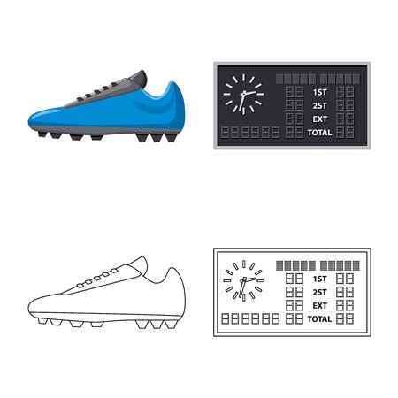 Isolated object of soccer and gear sign. Set of soccer and tournament stock vector illustration. Illustration