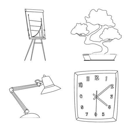 Vector design of furniture and work logo. Set of furniture and home stock symbol for web.