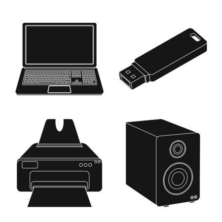Vektordesign des Laptop- und Gerätesymbols. Sammlung von Laptop und Server Lager Symbol für Web.