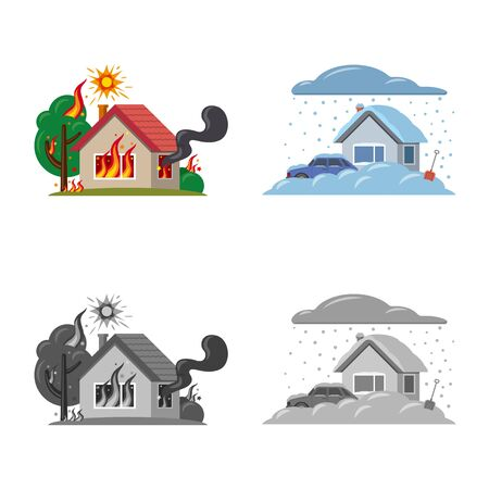 Vector design of natural and disaster icon. Collection of natural and risk vector icon for stock. Stock Vector - 124563215