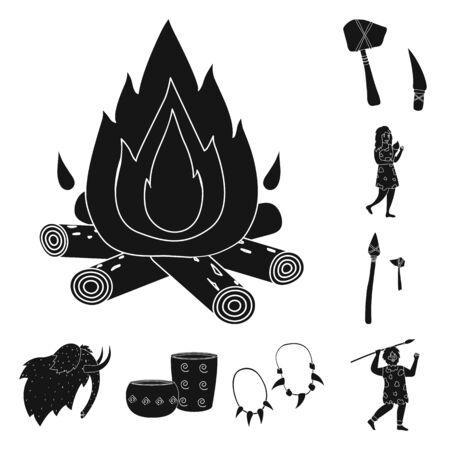 Vector illustration of survival and primeval symbol. Collection of survival and stone stock symbol for web. Ilustração
