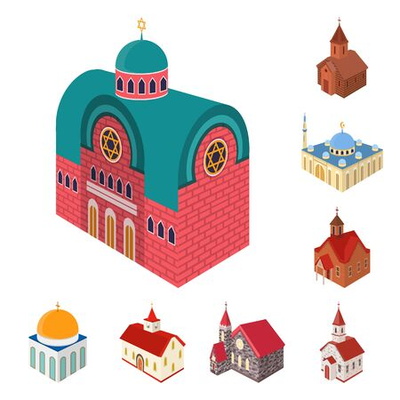 Vector design of architecture and building symbol. Collection of architecture and clergy vector icon for stock.