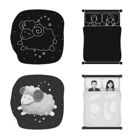 Vector illustration of dreams and night sign. Collection of dreams and bedroom vector icon for stock. Иллюстрация