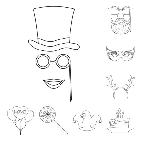 Vector design of party and birthday logo. Set of party and celebration stock vector illustration.