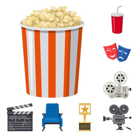 Isolated object of cinema and theater symbol. Set of cinema and entertainment stock symbol for web.