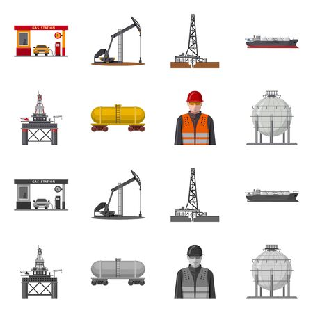 Vector design of oil and gas icon. Set of oil and petrol stock vector illustration.