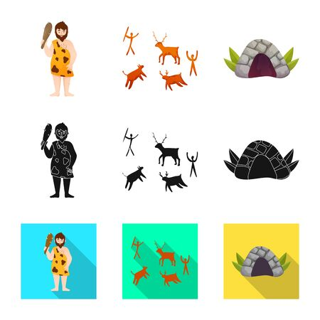 Vector illustration of evolution and neolithic symbol. Collection of evolution and primeval stock symbol for web.