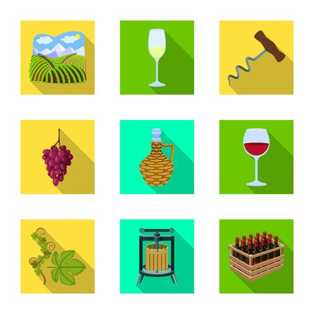 Vector design of farm and vineyard icon. Set of farm and product stock vector illustration.