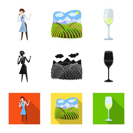 Vector design of farm and vineyard logo. Set of farm and product stock vector illustration.