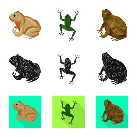 Vector design of wildlife and bog logo. Set of wildlife and reptile vector icon for stock.