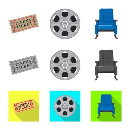 Isolated object of television and filming sign. Collection of television and viewing stock vector illustration. Illustration
