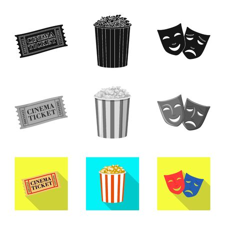 Vector design of television and filming icon. Set of television and viewing stock vector illustration.