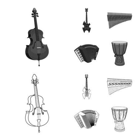 Vektorillustration von Musik und Melodiezeichen. Satz Musik und Werkzeugvektorsymbol für Lager.