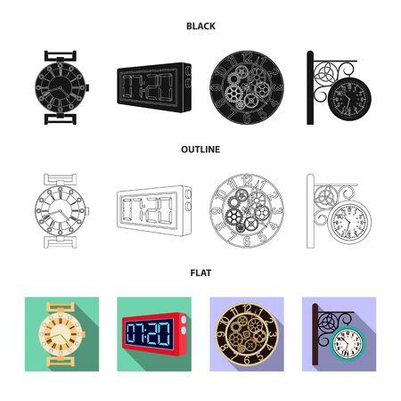 Vector illustration of clock and time logo. Collection of clock and circle vector icon for stock. Illustration