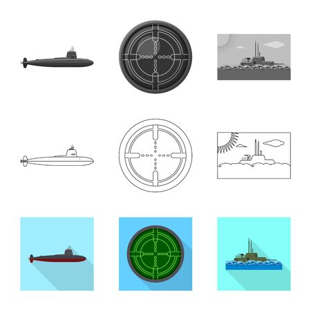 Vector design of war  and ship logo. Collection of war  and fleet stock vector illustration.