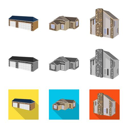 Vector illustration of facade and housing logo. Set of facade and infrastructure stock symbol for web.