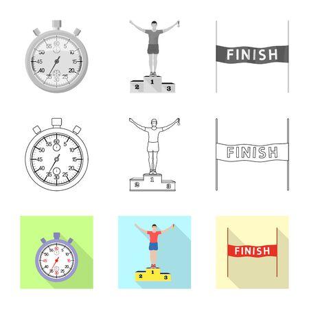 Vector illustration of sport  and winner logo. Set of sport  and fitness  stock symbol for web. 向量圖像