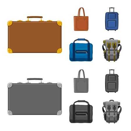 Vector design of suitcase and baggage sign. Collection of suitcase and journey vector icon for stock.