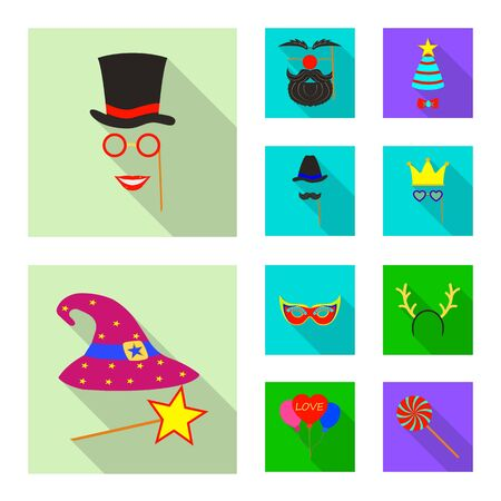 Vector design of party and birthday sign. Collection of party and celebration stock symbol for web. Иллюстрация