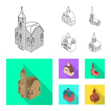 Vector design of temple and historic icon. Set of temple and faith stock vector illustration.