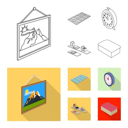 Vector design of bedroom and room logo. Collection of bedroom and furniture stock symbol for web.