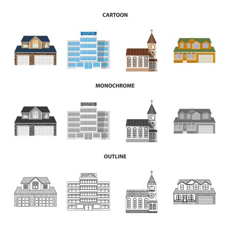 Isolated object of building and front symbol. Set of building and roof stock vector illustration.