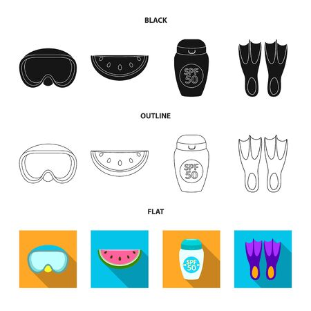 Isolated object of equipment and swimming icon. Set of equipment and activity vector icon for stock. Illustration