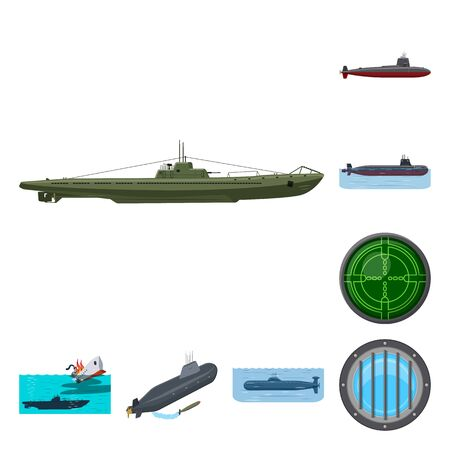 Vector design of boat and navy logo. Set of boat and deep   vector icon for stock.