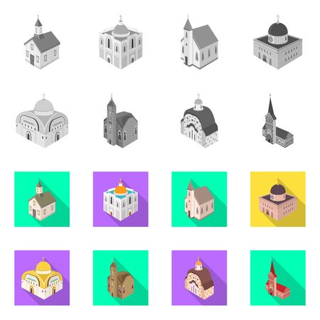 Isolated object of temple and historic symbol. Collection of temple and faith vector icon for stock.