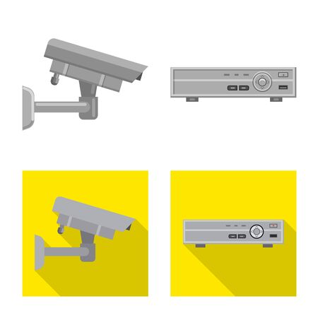 Vector illustration of office and house icon. Collection of office and system stock symbol for web. Ilustração