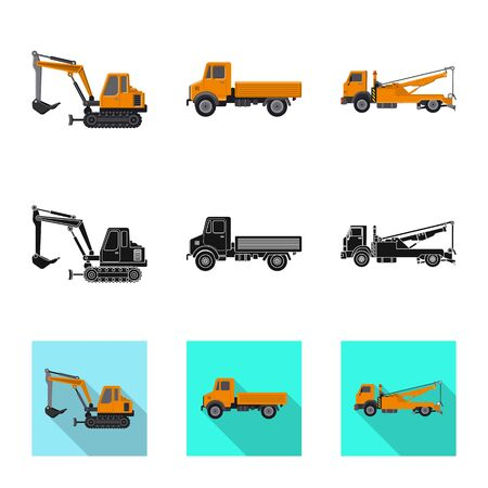 Isolated object of build and construction sign. Set of build and machinery stock symbol for web.