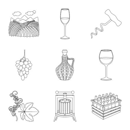 Isolated object of drink and manufacturing icon. Collection of drink and restaurant stock vector illustration. 일러스트