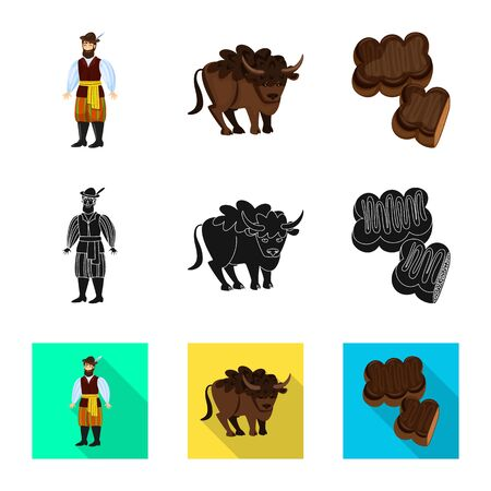 Vector illustration of traditional and tour icon. Set of traditional and landmarks stock symbol for web. Ilustração