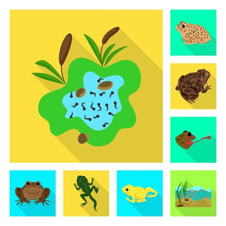 Isolated object of wildlife and bog symbol. Collection of wildlife and reptile stock vector illustration.