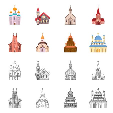 Vector design of cult and temple icon. Collection of cult and parish stock vector illustration. Иллюстрация