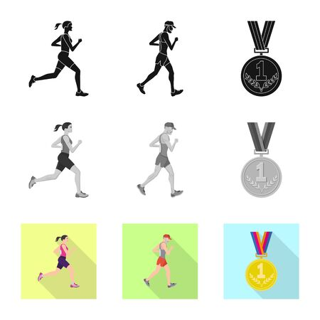 Isolated object of sport  and winner sign. Set of sport  and fitness  stock vector illustration.
