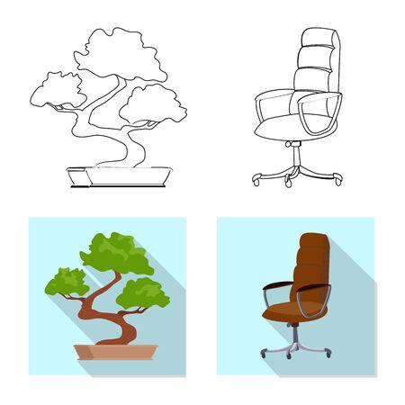 Vector illustration of furniture and work symbol. Set of furniture and home stock vector illustration. Stock Illustratie