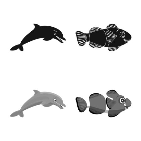 Vector design of sea and animal logo. Collection of sea and marine vector icon for stock.