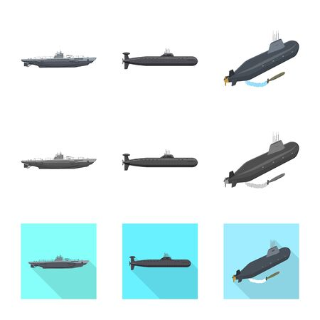 Vector design of war  and ship sign. Set of war  and fleet stock vector illustration. Ilustrace