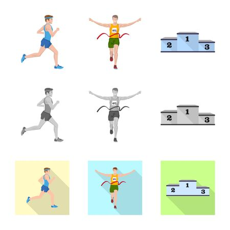Isolated object of sport  and winner icon. Set of sport  and fitness  stock symbol for web.