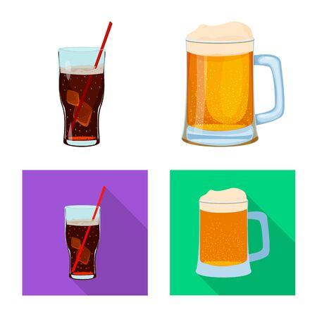 Vector illustration of drink and bar symbol. Collection of drink and party vector icon for stock.